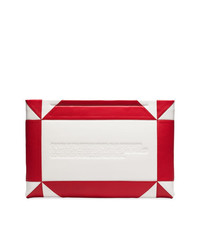 Calvin Klein 205W39nyc White And Red Logo Embossed Geometric Leather Clutch