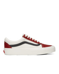 Vans Red And Off White Og Old Skool Vlt Lx Sneakers