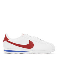 Nike White And Red Cortez Basic Sneakers