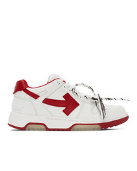 Off-White White And Red Out Of Office Sneakers