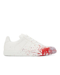 Maison Margiela White And Red Paint Drop Replica Sneakers