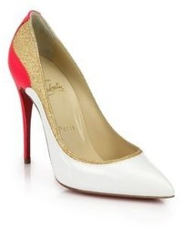 Christian Louboutin Tucsick Glittered Panel Colorblock Leather Pumps