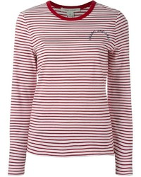 White and Red Long Sleeve T-shirt