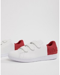 Lacoste Carnaby Evo Strap 318 1 Trainers In White With Red