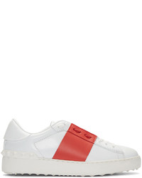 Valentino White Red Striped Low Top Sneakers