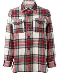 White and Red Plaid Dress Shirt