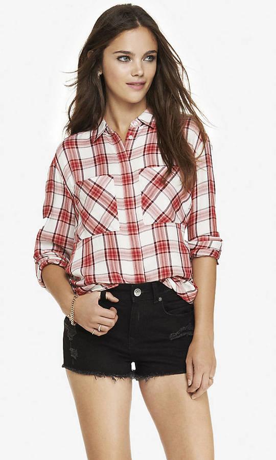 Oversized plaid shirt dress images for Oversized red plaid shirt