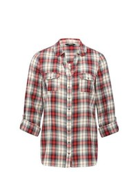 M&Co Three Quarter Sleeve Check Shirt Red 12