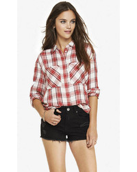Express Oversized Plaid Shirt Red And White