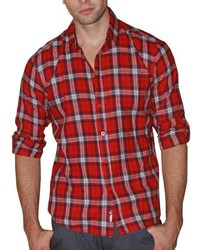 191 Unlimited Red Plaid Cotton Flannel Shirt