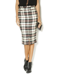 White and Red Plaid Pencil Skirt
