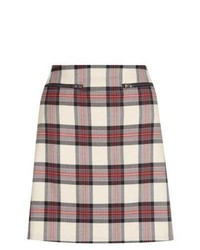 New Look Cream Check A Line Mini Skirt
