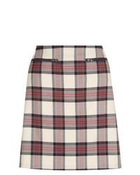 New Look Cream Check A Line Mini Skirt