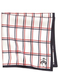 White and Red Plaid Pocket Square
