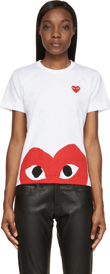 fe899061607d ... Comme Des Garcons Play Comme Des Garons Play Red White Half Heart T  Shirt ...