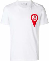 AMI Alexandre Mattiussi Crewneck T Shirt Red Print You Are Here