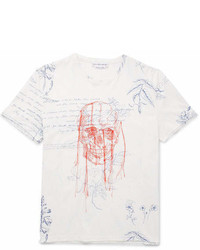 Alexander McQueen Explorer Embroidered Printed Cotton Jersey T Shirt