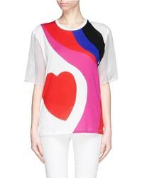 Alexander McQueen Matisse Heart Organza Sleeve T Shirt