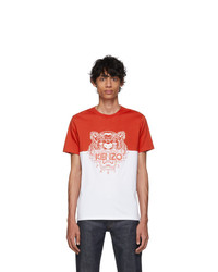 Kenzo Red And White Limited Edition Colorblock Tiger T Shirt