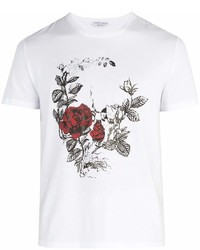 Alexander McQueen Rose Printed Cotton Jersey T Shirt