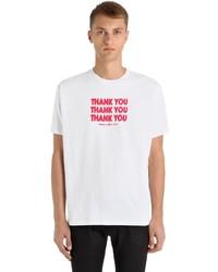 Raf Simons Thank You Printed Cotton Jersey T Shirt