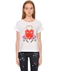 Heart Printed Cotton Jersey T Shirt