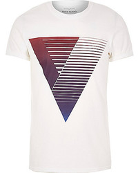 River Island White With Purple Triangle Print T Shirt
