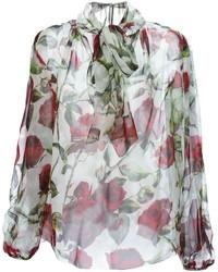 Dolce & Gabbana Sheer Rose Print Blouse