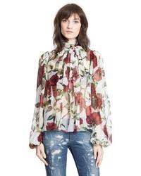 Dolcegabbana tie neck rose print chiffon blouse medium 352003