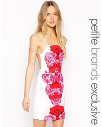 Tiger mist petite red bloom mini dress with strappy back medium 831288