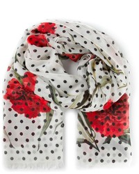 White and Red Print Scarf