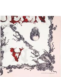 Alexander McQueen Ivory Pink Silk Koi Print Scarf