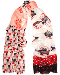 We Are Owls We Are Swimmers Printed Cashmere And Silk Blend Scarf