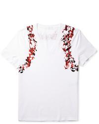 White and Red Print V-neck T-shirt