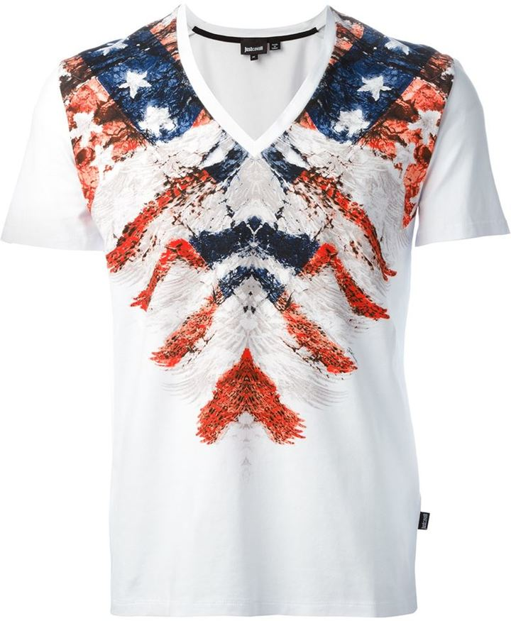 Just Cavalli Printed V Neck T Shirt | Where to buy & how to wear
