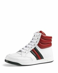 Gucci Ronnie Junior Leather High Top Sneaker Whiteredgreen