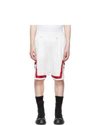 Mastermind World White Jacquard Logo Tape Shorts