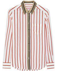 Brett striped silk crepe de chine shirt medium 41650