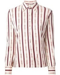 Celine cline vintage striped chain print shirt medium 41651