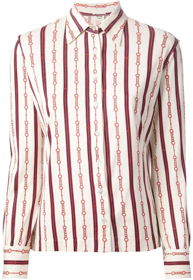 8e391a7b Celine Cline Vintage Striped Chain Print Shirt, $273   farfetch.com ...