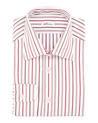 White and Red Vertical Striped Dress Shirt