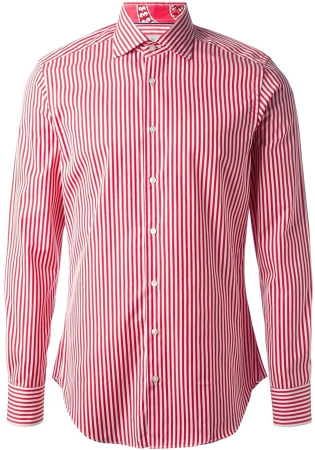 White and red vertical striped dress shirt etro striped for Mens red and white striped dress shirt