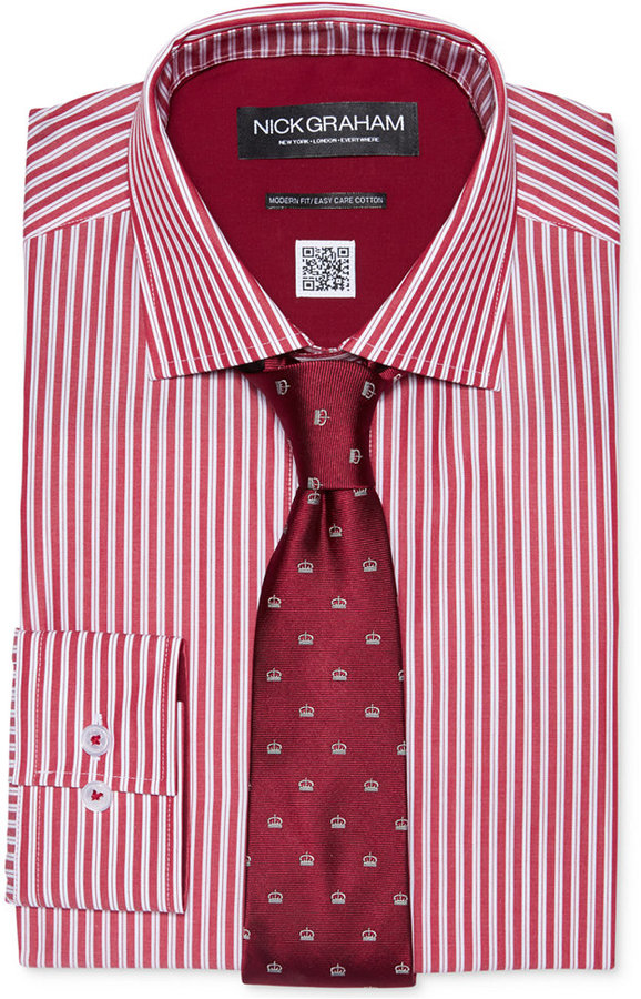 White and red vertical striped dress shirt nick graham for Mens red and white striped dress shirt