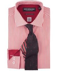 Nick graham shirttie set red stripe shirt black pin dot tie medium 155707
