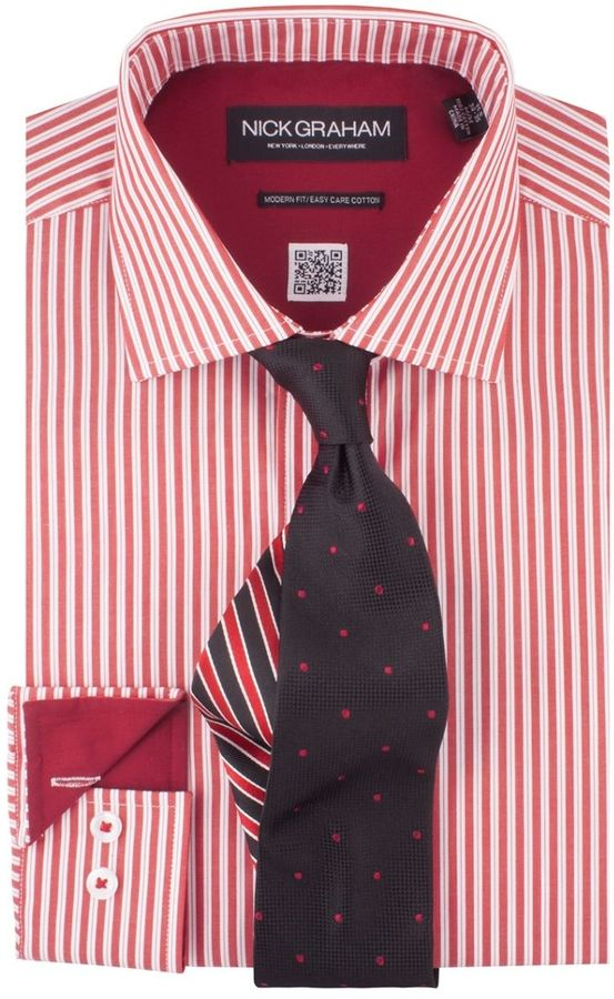 Dress Shirts Nick Graham Shirttie Set Red Stripe Shirt Black Pin Dot Tie