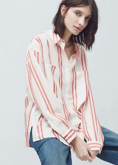 d10bee01b7 Mango Outlet Oversize Striped Shirt, $12   Mango   Lookastic.com
