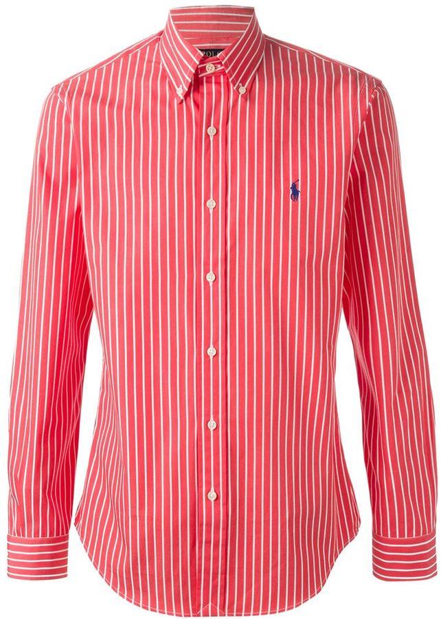 ... Red Vertical Striped Dress Shirts Polo Ralph Lauren Striped Shirt