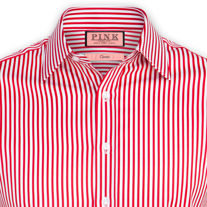 Thomas pink algernon stripe shirt double cuff where to for Red white striped polo shirt