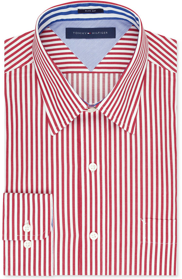 aa9191a85 Tommy Hilfiger Slim Fit Bold Stripe Dress Shirt, $69 | Macy's ...