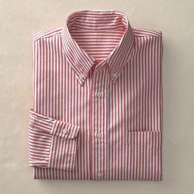 Travelsmith pure cotton striped oxford shirt red stripe xl for Mens red and white striped dress shirt